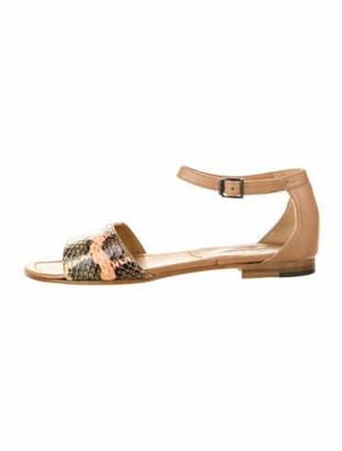 Manolo Blahnik Snakeskin Sandals Orange