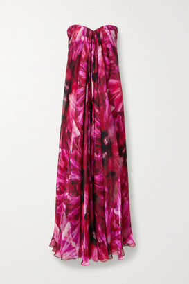 Alexander McQueen Strapless Pleated Floral-print Silk-crepe De Chine Gown - Pink