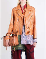 Loewe Ladies Tan Exposed Zip Oversized Leather Biker Jacket