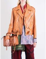 Loewe Oversized leather biker jacket