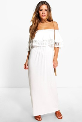 boohoo Petite Off The Shoulder Trim Detail Maxi Dress