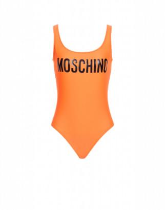 Moschino One-piece Swimsuit With Logo Woman Orange Size 38 It - (2 Us)