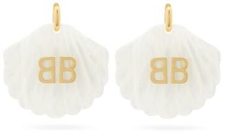 Balenciaga Mermaid Bb-logo Shell Drop Earrings - Womens - White