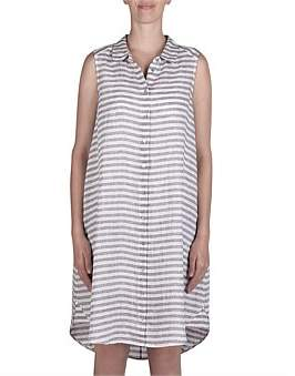Jump Sleeveless Stripe Button Thru Linen Dress
