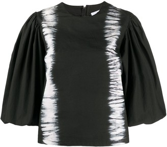 MSGM Puff-Sleeved Tie-Dye Top