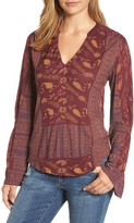 Lucky Brand Women's Mix Print Peasant Top