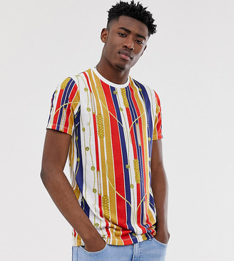 Asos Design DESIGN Tall t-shirt in stripe and all over nautical print-Multi