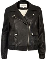 River Island Womens Black textured leather look biker bomber