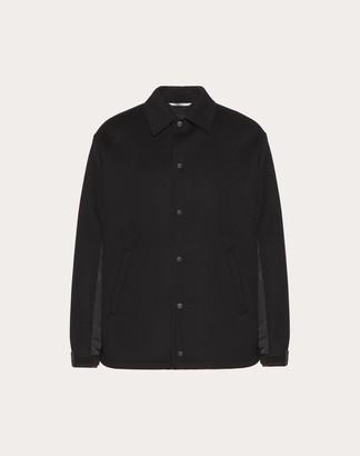 Valentino Double Wool Cloth And Nylon Coach Jacket Man Black Polyamide 100% 48