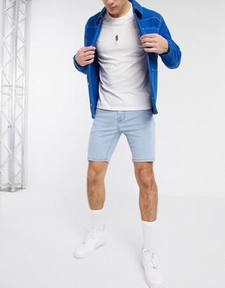 Asos DESIGN skinny denim shorts with power stretch in light wash blue