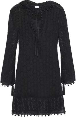 Talitha Collection Pompom-trimmed Crochet-knit Hooded Coverup