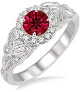 engagement-rings Bestselling On Sale: 1.25 Round cut Ruby and Diamond Engagement Ring in 14k White Gold affordable ruby & diamond engagement ring