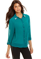 Amy Byer Juniors Top, Long Sleeve Embellished Collar Sheer Blouse