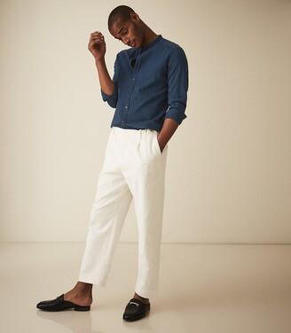 Reiss Caffrey - Textured Grandad Collar Shirt in Navy