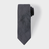 Paul Smith Men's Black And Grey Diagonal Stripe Narrow Cotton Seersucker Tie