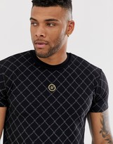 SikSilk muscle t-shirt with monogram in black