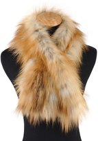 Ferand Women's Genuine Fox Fur Knitted Pull Through Scarf Wrap