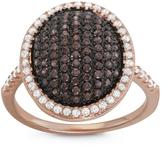 Tiara 2/3 CT TW Brown Cubic Zirconia Rose Gold-Plated Sterling Silver Halo Ring