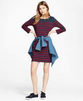 Brooks Brothers Striped Ponte Shift Dress