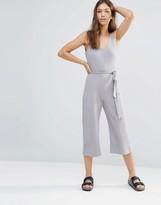 Boohoo Ribbed Culotte Jumpsuit