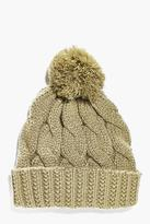Boohoo Cable Knit Bobble Beanie