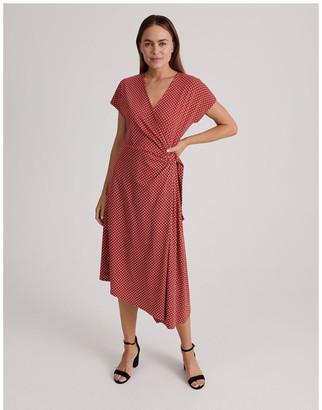 Basque Geo Print Wrap Jersey Dress
