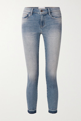 Current/Elliott The Stiletto Cropped Distressed Mid-rise Skinny Jeans - Mid denim