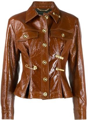 Versace Safety Pin-Embellished Leather Jacket