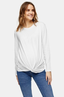 Topshop Womens **Maternity White Twist Front Long Sleeve Top - White