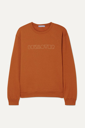 PARADISED Sunlover Embroidered Cotton-blend Jersey Sweatshirt - Orange