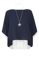 Quiz Navy And Cream Double Layer Necklace Top