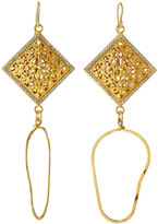 Devon Leigh Pave Filigree Cushion Double-Drop Earrings