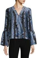 Nanette Lepore Women's Floral Print Bell Sleeve Top
