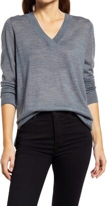 Halogen V-Neck Merino Wool Blend Sweater
