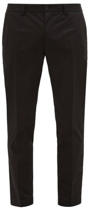 Dolce & Gabbana Logo-patch Stretch-cotton Twill Trousers - Black