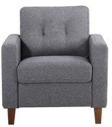 Bronx Persis Armchair Ivy Upholstery: Dark Gray, Finish: Light Brown
