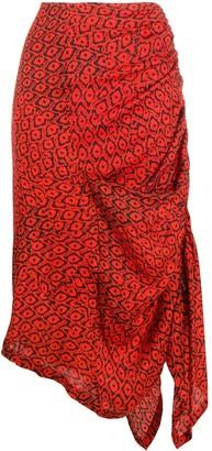 Preen by Thornton Bregazzi Ruched Asymmetrical Midi-Skirt