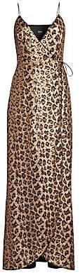 Aidan Mattox Women's Leopard Sequin Wrap Gown