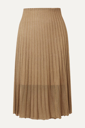 Vince Pleated Metallic Crochet-knit Midi Skirt - Bronze