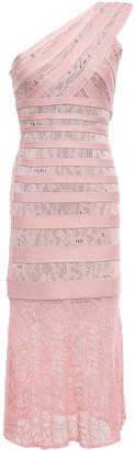 Herve Leger One-shoulder Pointelle-trimmed Bandage Midi Dress