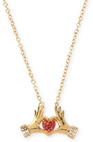 Betsey Johnson Gold-Tone Hands-and-Heart Pendant Necklace