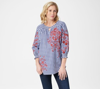 Isaac Mizrahi Live! Gingham Top with Embroidery