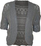 FashionMark Women's Plus Size Crochet Knitted Short Sleeve Cardigan (Turquoise)