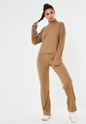 Missguided Camel Co Ord Ribbed Wide Leg Trousers
