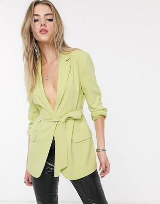 Bershka tie-waist blazer in lime green