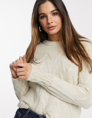 Y.A.S jumper with chevron detail in cream