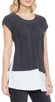 Women's Two By Vince Camuto Layered Look Cable Sweater
