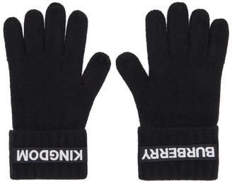 Burberry Black Cashmere Logo and Kingdom Gloves