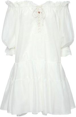 Ermanno Scervino Cotton Caftan Mini Dress