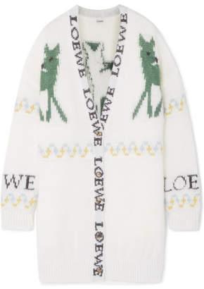 Loewe Oversized Fair Isle Mohair-blend Cardigan - Ivory